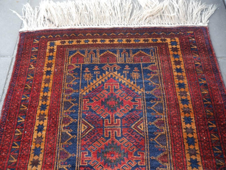20th Century Vintage Balouch Tribal Prayer Rug Blue and Rust Color For Sale