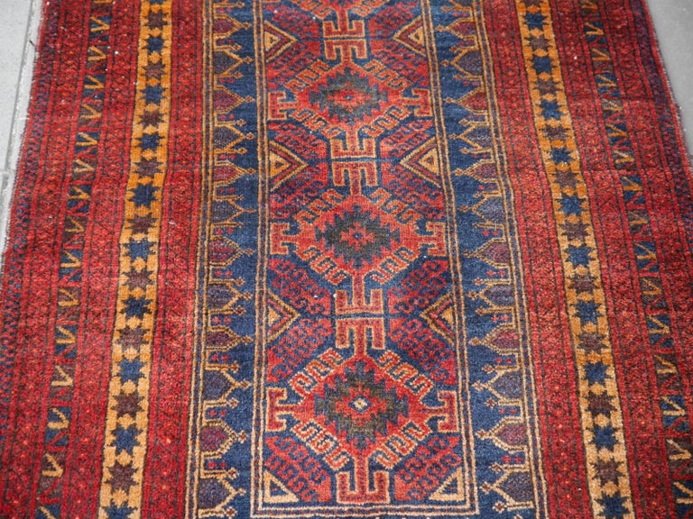 Wool Vintage Balouch Tribal Prayer Rug Blue and Rust Color For Sale