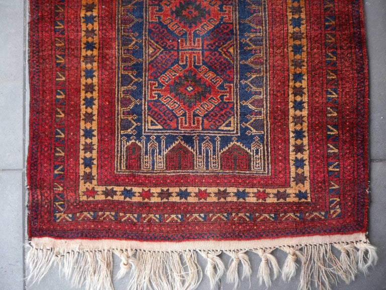 Vintage Balouch Tribal Prayer Rug Blue and Rust Color For Sale 1