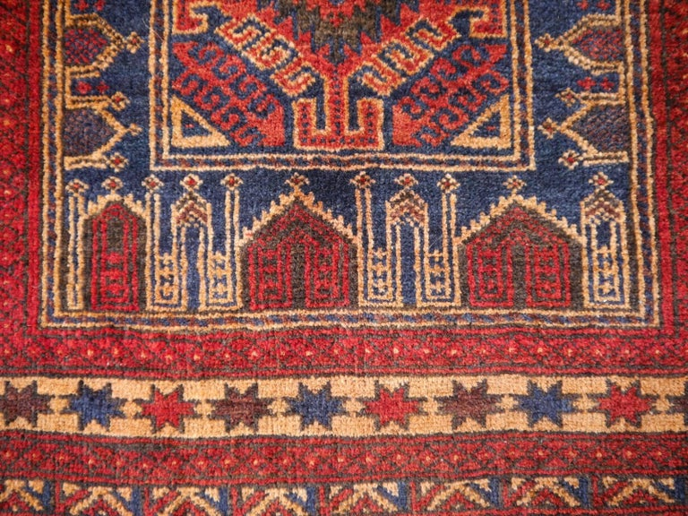 Vintage Balouch Tribal Prayer Rug Blue and Rust Color For Sale 2