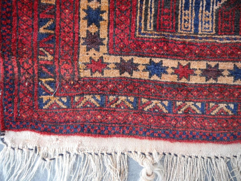 Vintage Balouch Tribal Prayer Rug Blue and Rust Color For Sale 3