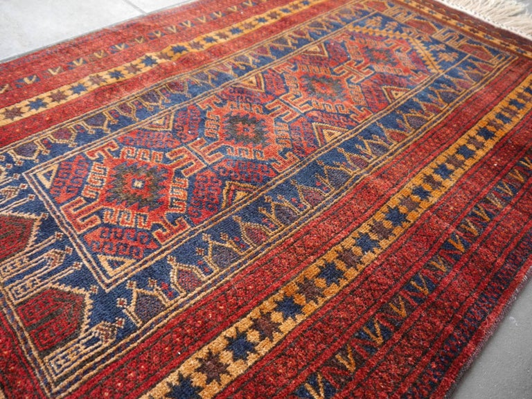 Vintage Balouch Tribal Prayer Rug Blue and Rust Color For Sale 4