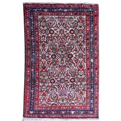 Small Vintage Accent Rug, Oriental Carpet Beige Red and Blue