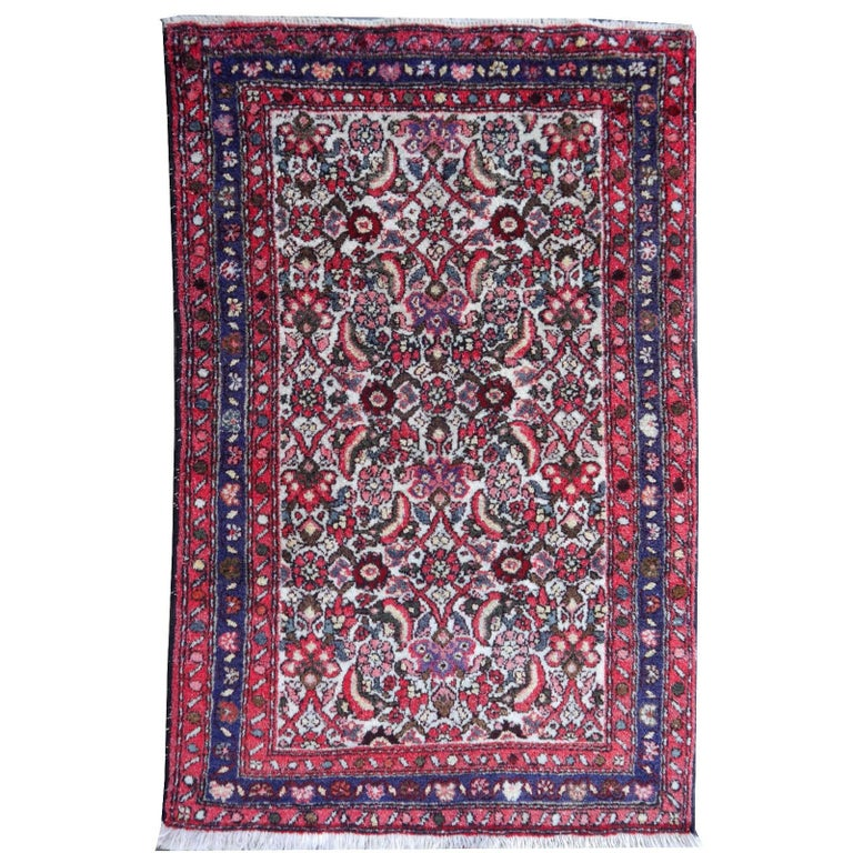 Small Vintage Accent Rug, Oriental Carpet Beige Red and Blue For Sale