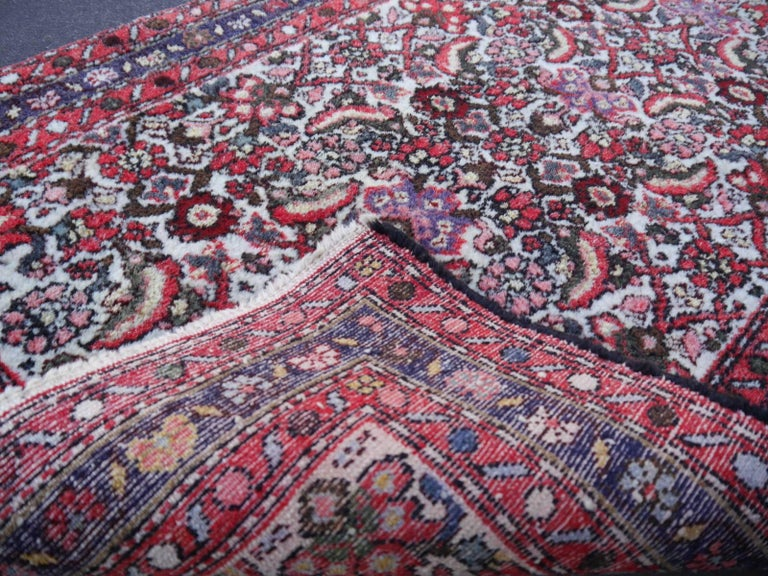 Tribal Small Vintage Accent Rug, Oriental Carpet Beige Red and Blue For Sale