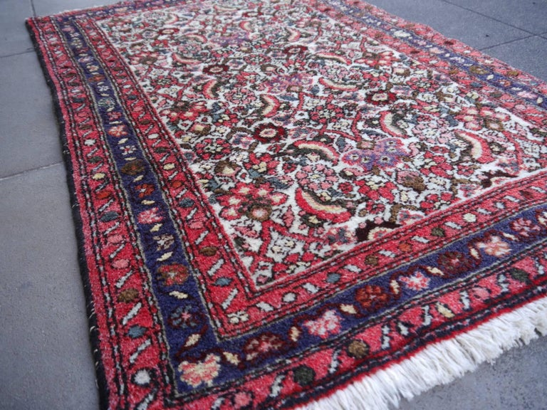 Azerbaijani Small Vintage Accent Rug, Oriental Carpet Beige Red and Blue For Sale