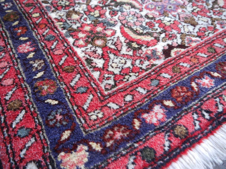 Hand-Knotted Small Vintage Accent Rug, Oriental Carpet Beige Red and Blue For Sale