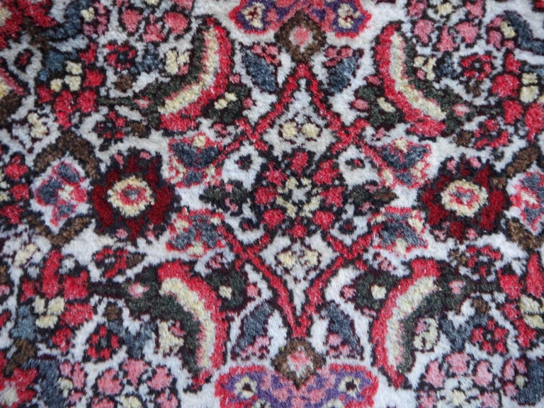 20th Century Small Vintage Accent Rug, Oriental Carpet Beige Red and Blue For Sale