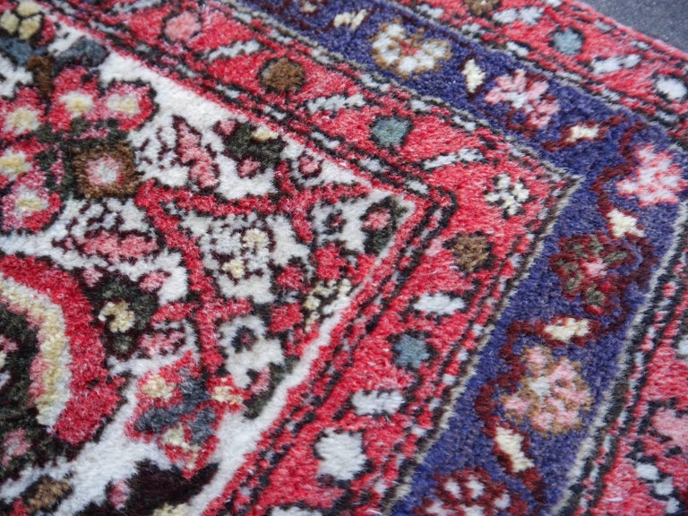 Wool Small Vintage Accent Rug, Oriental Carpet Beige Red and Blue For Sale