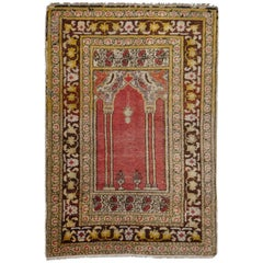Vintage Turkish Prayer Rug Slightly Worn Distressed Industrial Look