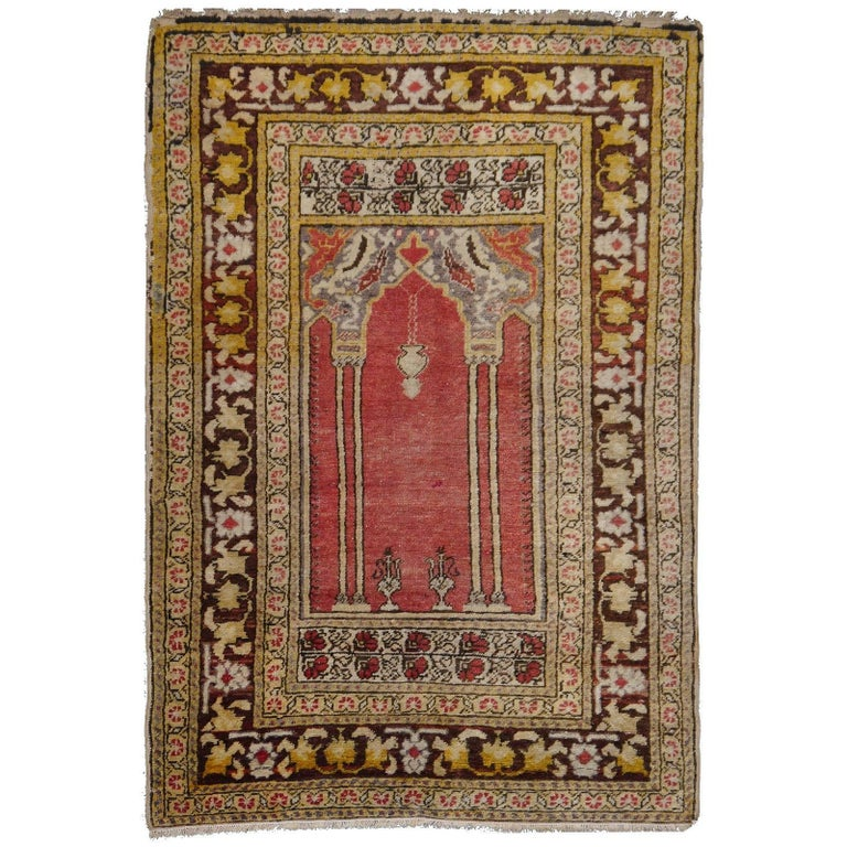 Vintage Turkish Prayer Rug Slightly Worn Distressed Industrial Look For Sale