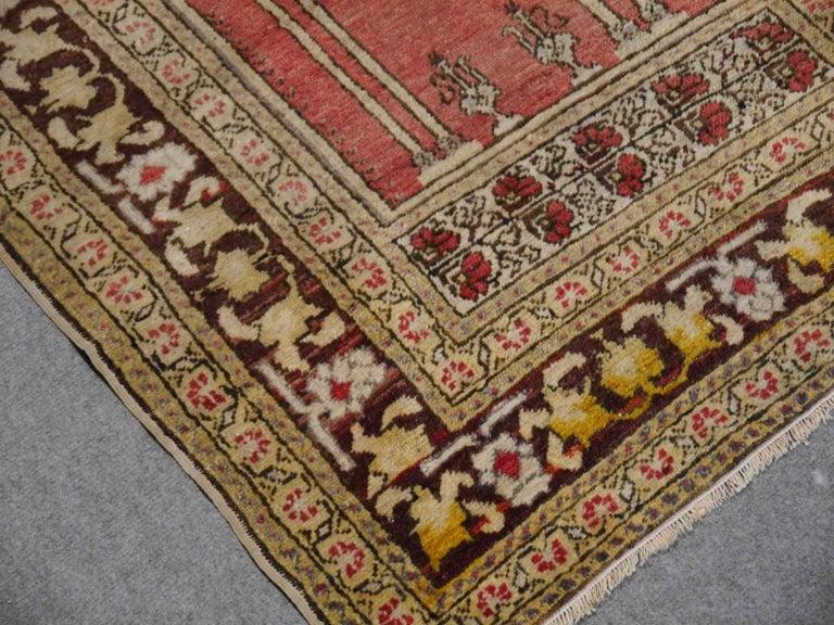 Tribal Vintage Turkish Prayer Rug Slightly Worn Distressed Industrial Look For Sale