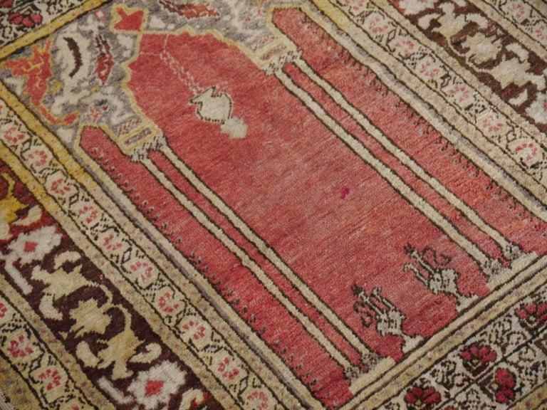 Hand-Knotted Vintage Turkish Prayer Rug Slightly Worn Distressed Industrial Look For Sale
