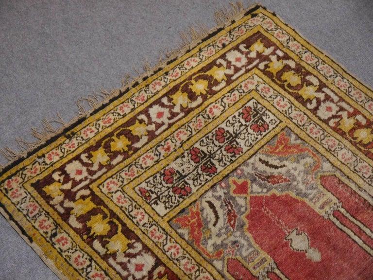 20th Century Vintage Turkish Prayer Rug Slightly Worn Distressed Industrial Look For Sale