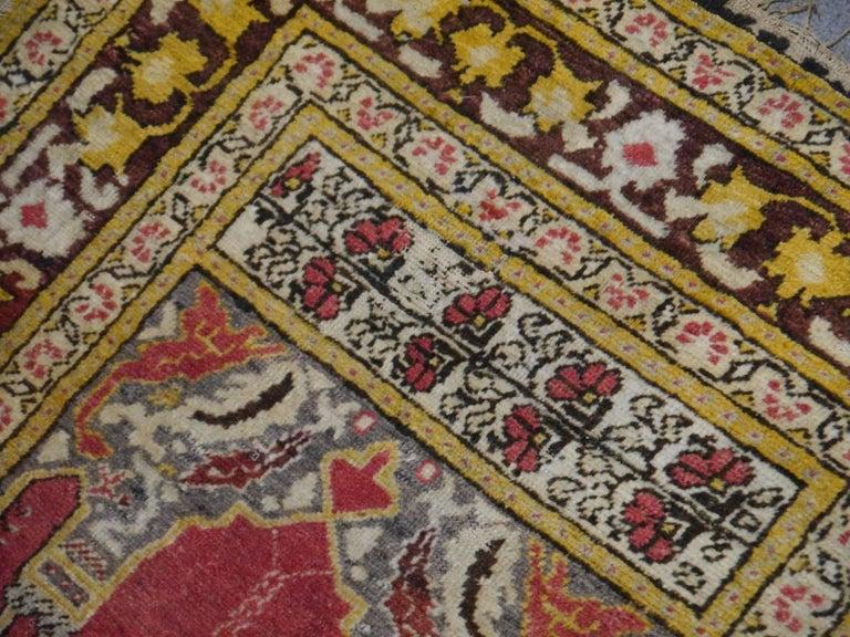 Vintage Turkish Prayer Rug Slightly Worn Distressed Industrial Look For Sale 1