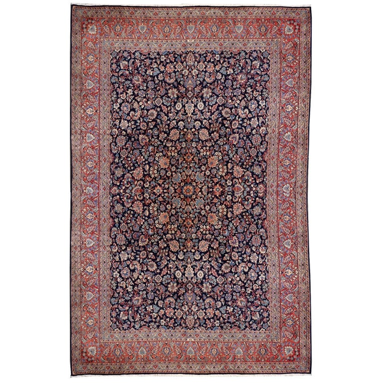 Midcentury Blue Copper Hand-Knotted Semi Antique Carpet For Sale