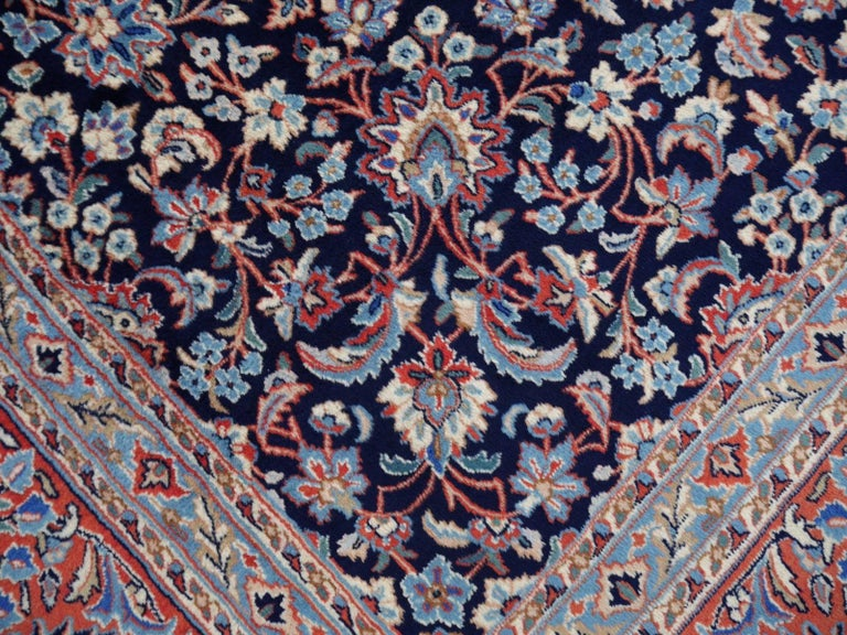 Persian Midcentury Blue Copper Hand-Knotted Semi Antique Carpet For Sale