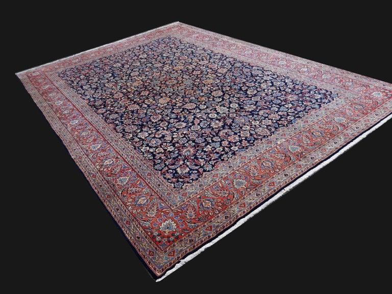 Midcentury Blue Copper Hand-Knotted Semi Antique Carpet In Excellent Condition For Sale In Lohr, Bavaria, DE