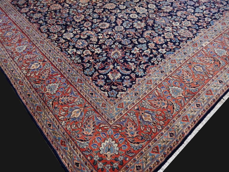 20th Century Midcentury Blue Copper Hand-Knotted Semi Antique Carpet For Sale