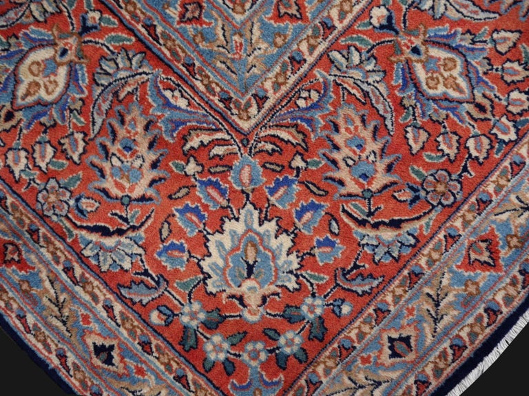 Wool Midcentury Blue Copper Hand-Knotted Semi Antique Carpet For Sale
