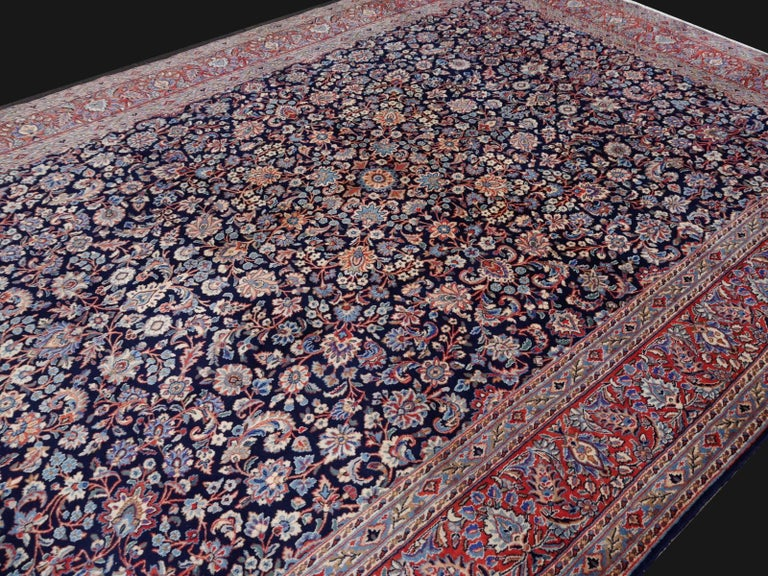 Midcentury Blue Copper Hand-Knotted Semi Antique Carpet For Sale 1
