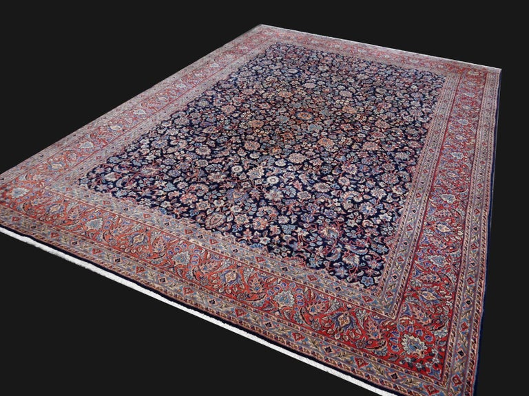 Midcentury Blue Copper Hand-Knotted Semi Antique Carpet For Sale 2