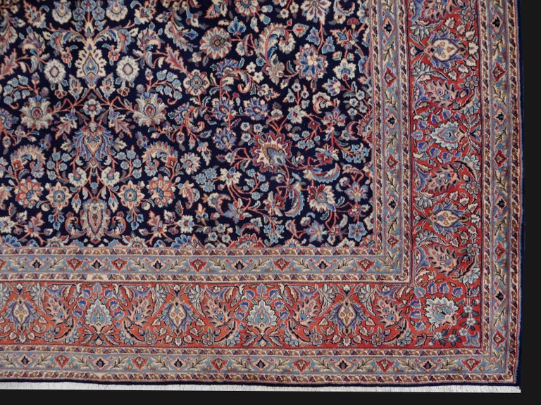 Midcentury Blue Copper Hand-Knotted Semi Antique Carpet For Sale 3