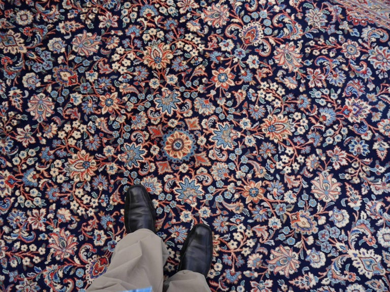 Midcentury Blue Copper Hand-Knotted Semi Antique Carpet For Sale 4