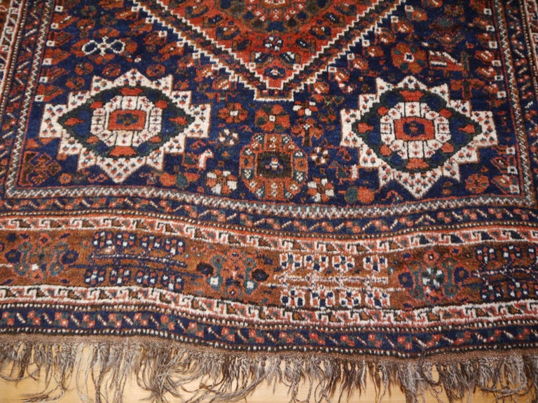 Hand-Knotted Antique Tribal Nomadic Carpet Large Size For Sale