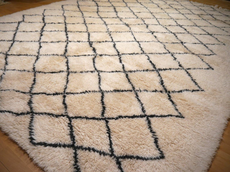 Moroccan Berber Rug Beni Ourain Diamond Design White Black Colors For Sale 2