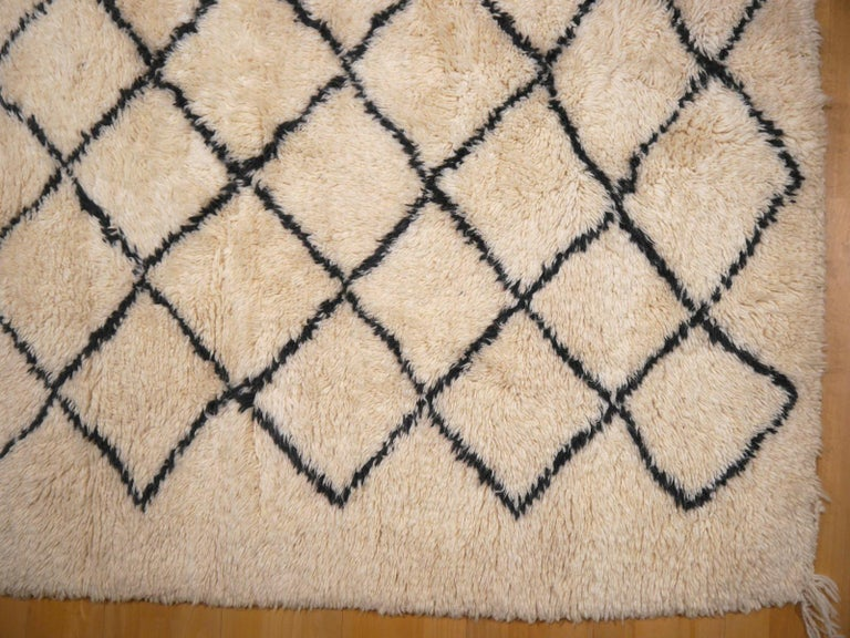 Moroccan Berber Rug Beni Ourain Diamond Design White Black Colors For Sale 4