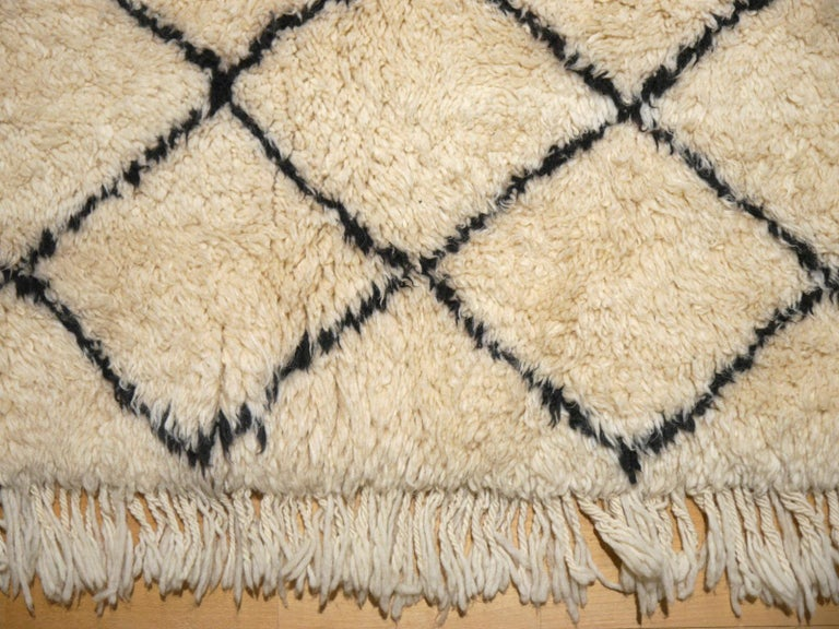 Moroccan Berber Rug Beni Ourain Diamond Design White Black Colors For Sale 5