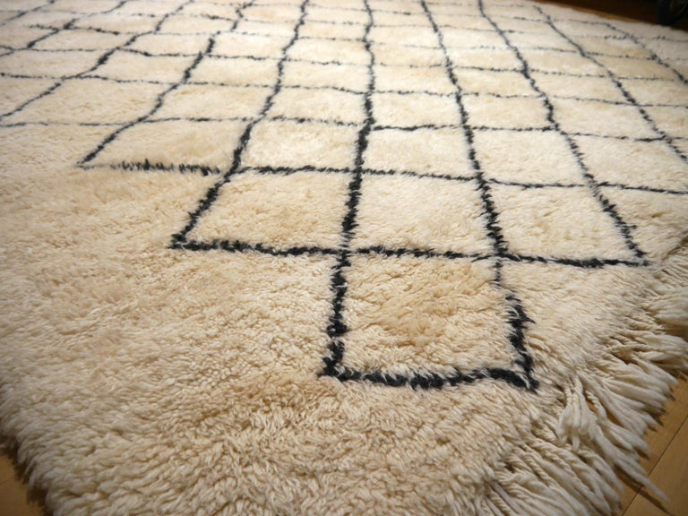 Moroccan Berber Rug Beni Ourain Diamond Design White Black Colors For Sale 6