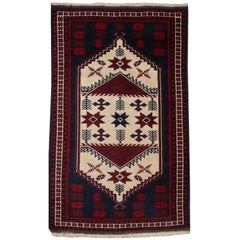Vintage Turkish Rug Slightly Worn Distressed Industrial Look Hand-Knotted