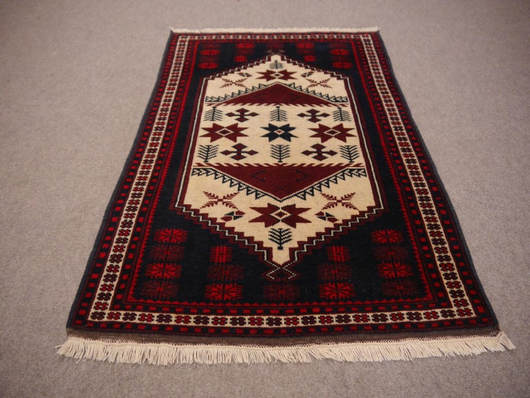 Vintage oriental accent rug, carpet, mat  Vintage Turkish rug slightly worn distressed Industrial look  • Beautiful vintage rug • All handmade • Pile pure wool • Traditional design • Condition: Very good, some low pile.  All of our rugs,