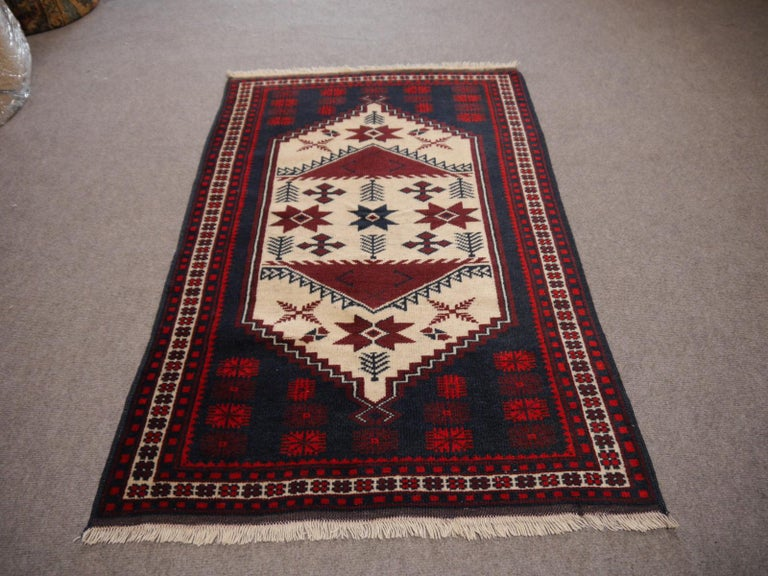Tribal Vintage Turkish Rug Slightly Worn Distressed Industrial Look Hand-Knotted For Sale