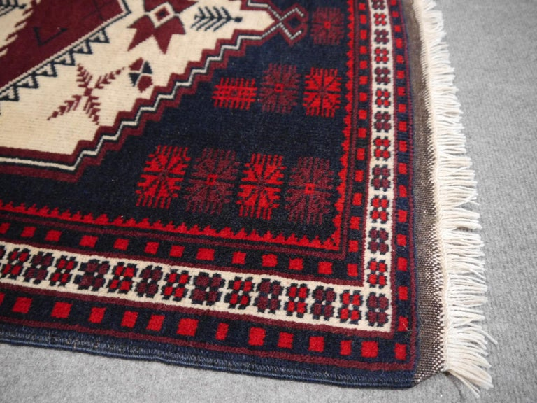 20th Century Vintage Turkish Rug Slightly Worn Distressed Industrial Look Hand-Knotted For Sale