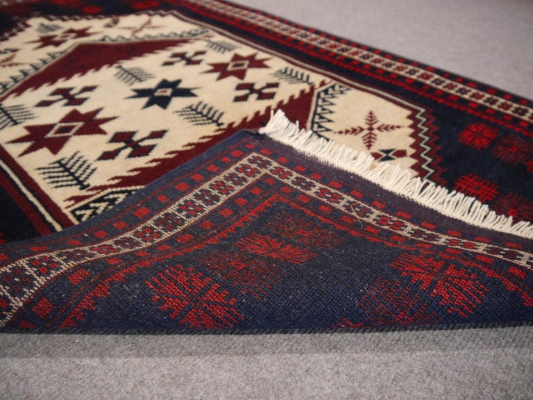 Wool Vintage Turkish Rug Slightly Worn Distressed Industrial Look Hand-Knotted For Sale