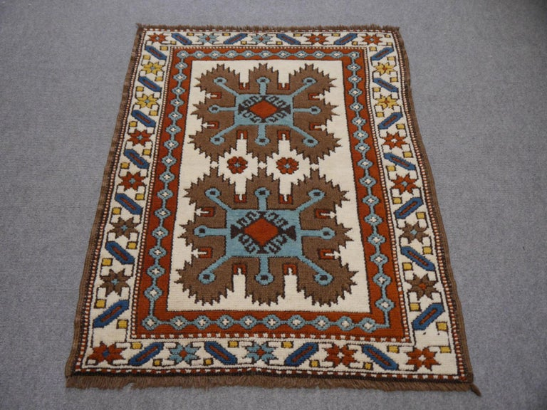 Hand-Knotted Vintage Turkish Rug Kazak Style For Sale