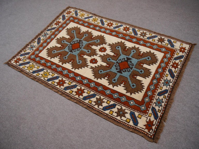 Vintage Turkish Rug Kazak Style In Good Condition For Sale In Lohr, Bavaria, DE