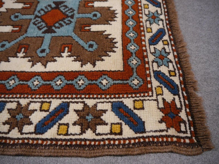 Wool Vintage Turkish Rug Kazak Style For Sale