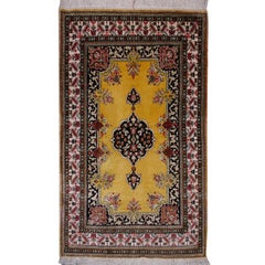 Silk Vintage Rug Hand-Knotted in Gold and Beige