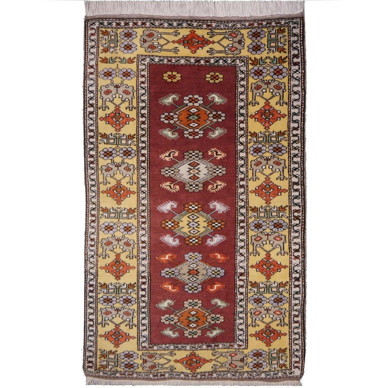 Vintage Turkish Rug Hand-Knotted For Sale