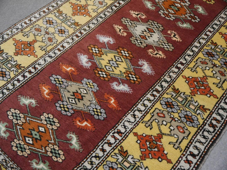 Wool Vintage Turkish Rug Hand-Knotted For Sale