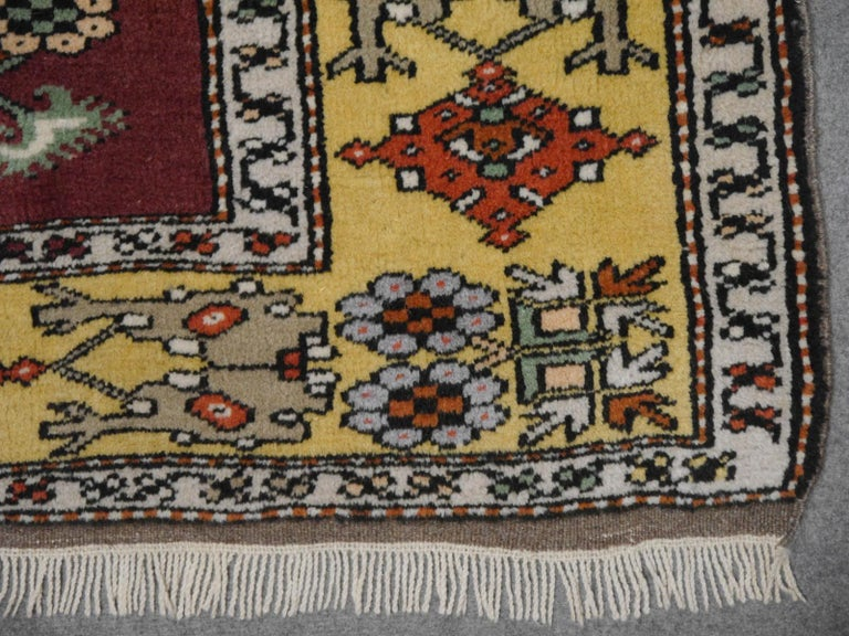 Vintage Turkish Rug Hand-Knotted For Sale 1