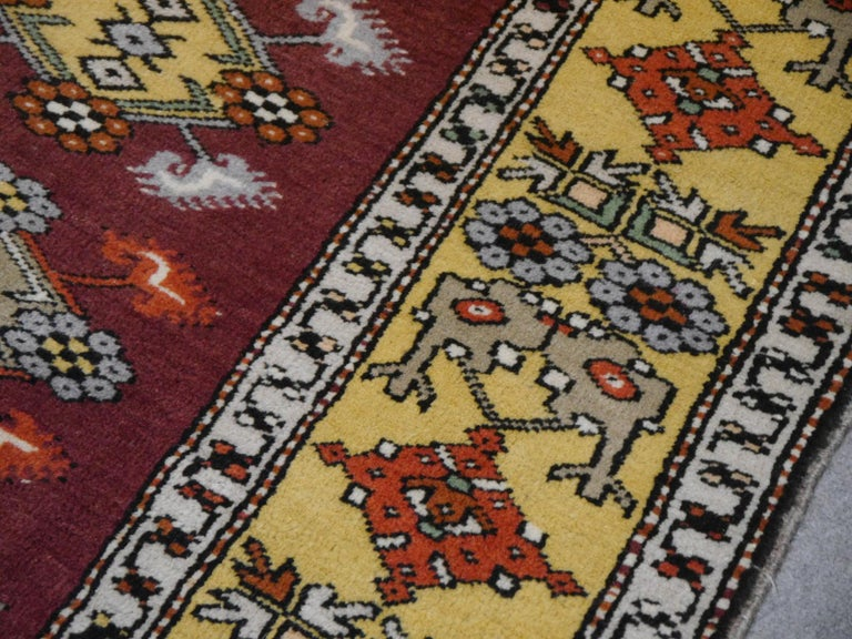 Vintage Turkish Rug Hand-Knotted For Sale 2