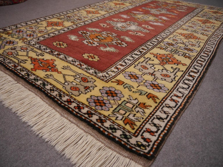 Vintage Turkish Rug Hand-Knotted For Sale 3