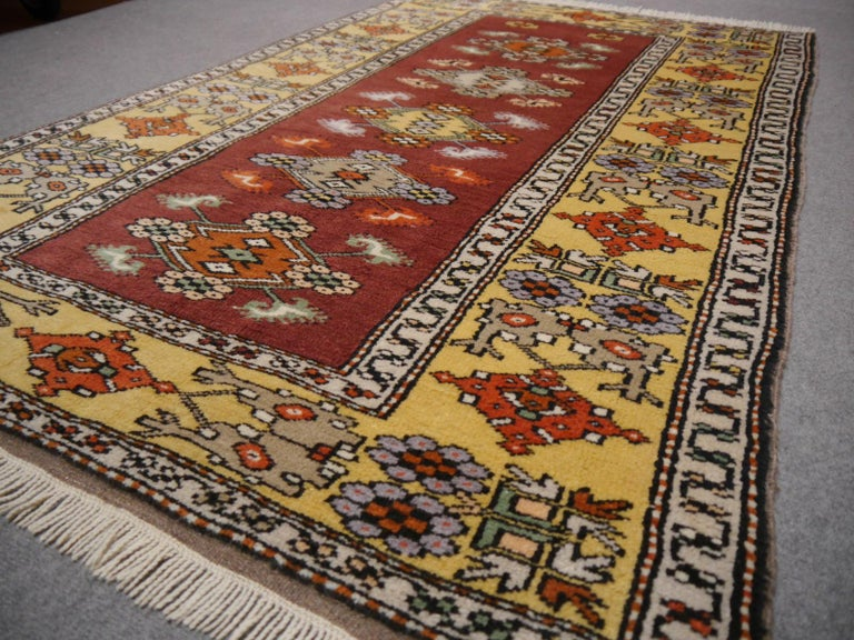 Vintage Turkish Rug Hand-Knotted For Sale 4