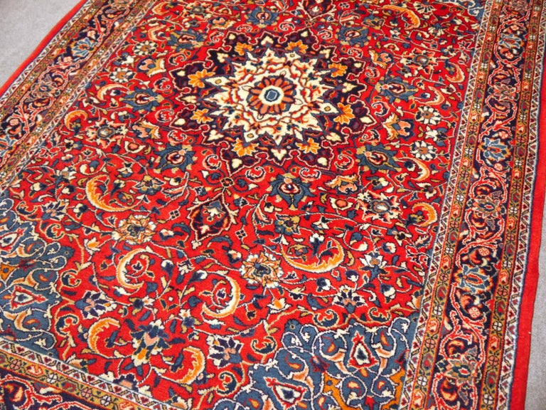 Sarouk Hand-Knotted Oriental Rug Red and Blue For Sale 1