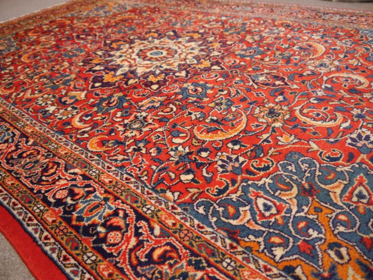 Sarouk Hand-Knotted Oriental Rug Red and Blue For Sale 2